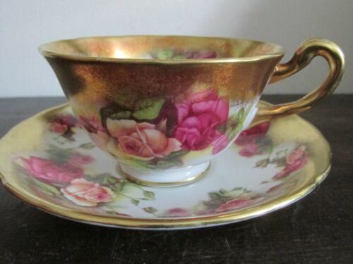 Royal Chelsea England Bone China Golden Rose Tea Cup And Saucer
