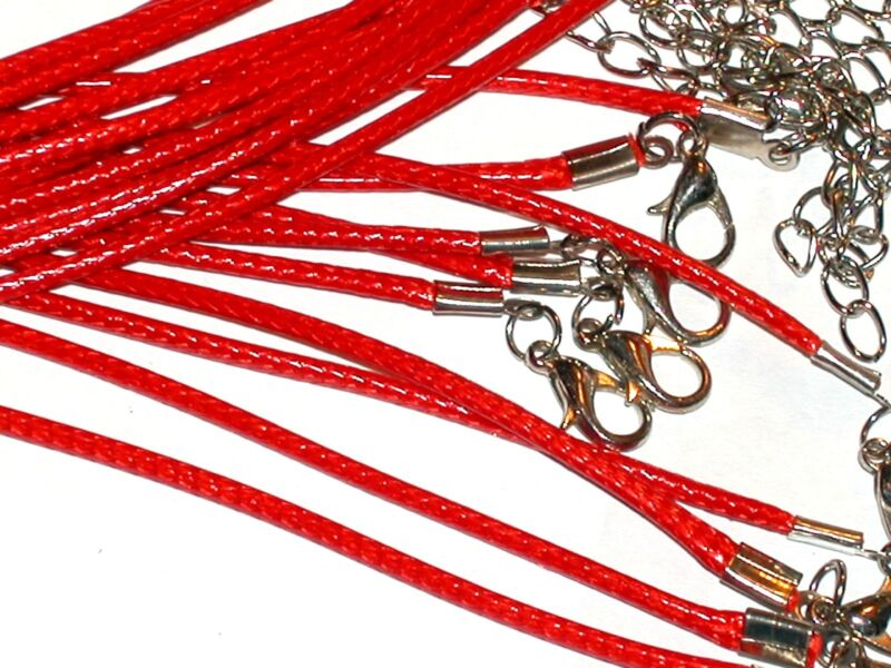 """5 Pc. Red Pendant charm Necklaces Lot  smooth soft style 18"""" New*"""