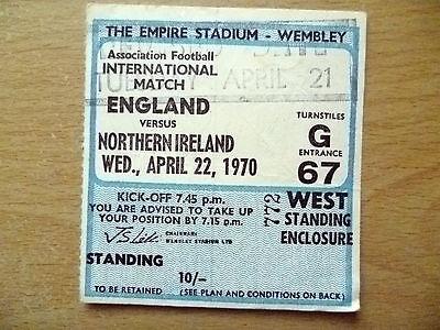 PREPONE Ticket1970 ENGLAND v N. IRELAND, 21 April ,International Match, Wembley