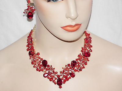 Bridal Gold With Red Ruby Rhinestone Crystal Necklace and Drop Earrings Set