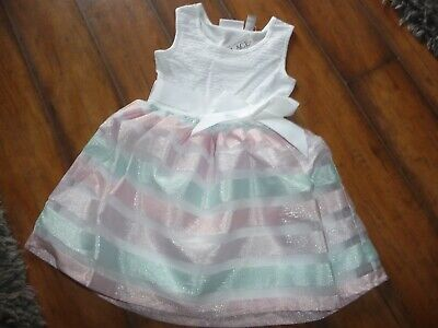NWT The Childrens Place Girl size 4 formal pastel stripe Easter Dress PRETTY