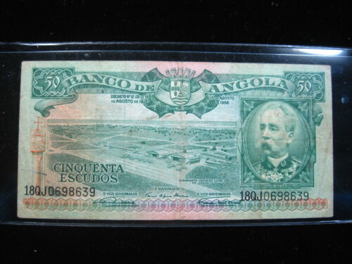 ANGOLA 50 ESCUDOS 1956 P88 AFRICA ANTELOPE 36# BANK CURRENCY BANKNOTE MONEY