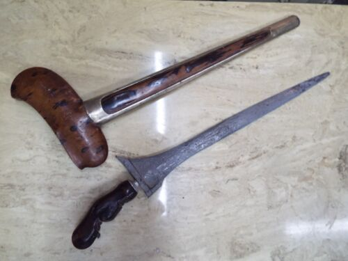 OLD INDONESIAN SUMATRA JAVANESE KERIS KRIS DAGGER KNIFE SWORD W/PAMOR BLADE NR