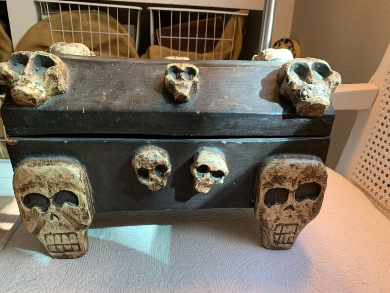 "Vintage Hand Carved Voodoo Box Wood Skeleton Skull Halloween Haitian 14""x 9"""