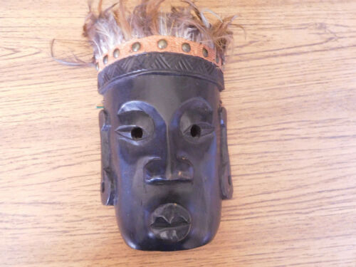 Vintage Hand Crafted Carved Wooden Tribal Mask with Feathers ~ FREE SHIP~