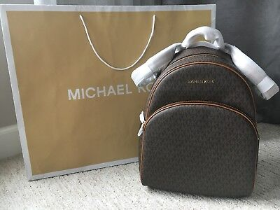 NWT MICHAEL KORS ABBEY LARGE BACKPACK MK SIGNATURE PVC LEATHER FALL 2018 (Michael Kors Fall)