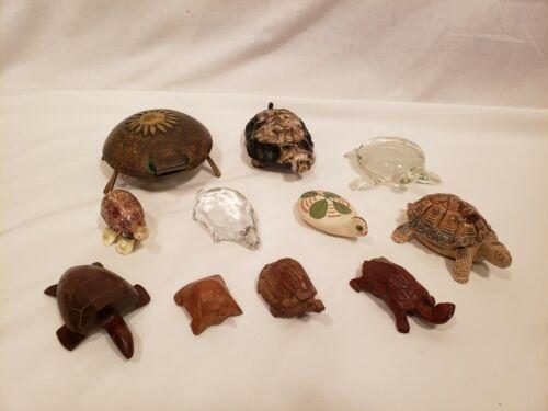 Vintage Turtle Figure Lot of 11, Wood, Metal, Stone, Wade Trinket, Glass