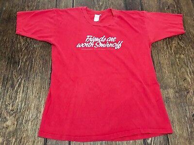 vintage 1986 SMIRNOFF VODKA mens M medium (38-40) red shirt