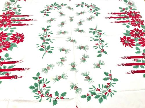 Vintage MCM Christmas Tablecloth Napkin Set Candles Holly Poinsettia Pine Cones