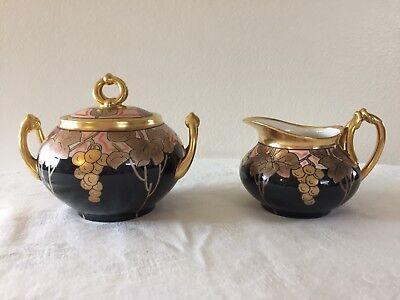 Antique Limoges Pickard China Black & Gold Grape Pattern Sugar & Creamer Signed