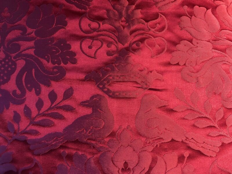 BY YARD SCALAMANDRE 100%SILK LOVE BIRD SPECIAL RED PINK IRIDESCENT MSRP $484/Y