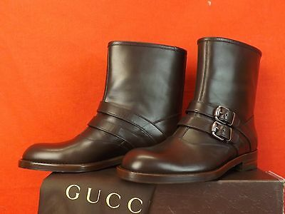 NIB GUCCI MARGARETT COCOA LEATHER MOTO BIKER 2X BELTED SHORT BOOTS 37.5 $895