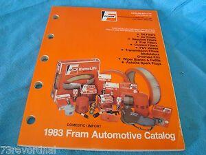 fram 1983 filter oil gas pvc catalog application guide cars light trucks new