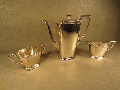 W.M.Mounts Homan Plate on Nickel Silver 3 Piece Coffee or Tea Set #0682