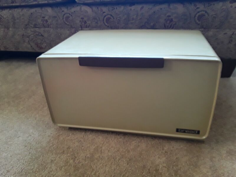 Vintage yellow green bread box with shelf nice condition