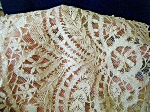 Old Vtg pair cuffs hand made from silk Cluny lace lined w mesh lace England