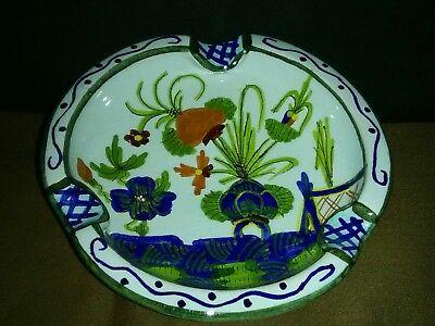 Unique Vtg Giuseppe Chiurato Maioliche Roma Art Pottery Floral Ash Tray Italy