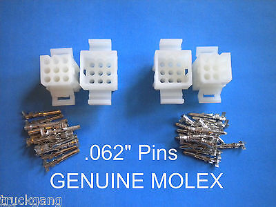 9 Circuit Connector - Set Of 2 Complete Molex Wire Connectors W Pins .062