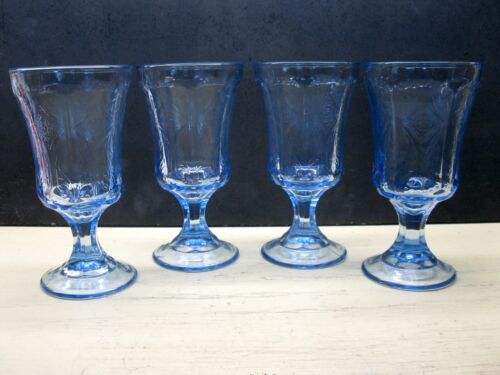 Blue Recollection Madrid Pattern Water Goblets Glass by Indiana Glass Set of 4
