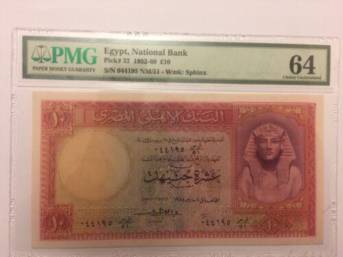 PICK#32 1952 £10 EGYPT NATIONAL BANK PMG 64 CHOICE UNC #N91