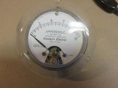 Analog Panel Dc Ammeter Vintage Western Electric 0-15 Dc Amps 3 Round