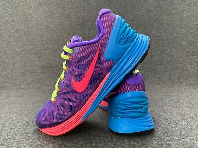 Nike LunarGlide 6 Shoes Size 4 Blue Pink Trainers EU 36.5 Run Gym Sport Boots