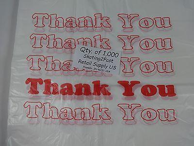 1000 Qty. Thank You T-shirt Bags Plastic 11.5 X 6 X 21 Retail Shopping