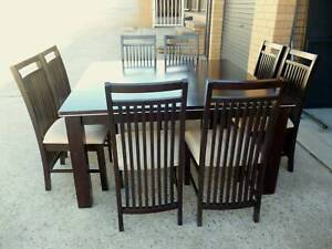 (SOLD) Dining Table (8 seater, square, dark, hardwood)