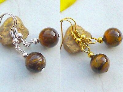 Ohrringe TIGERAUGE Edelstein Perlen Ohrhänger versilbert vergoldet Ohrschmuck