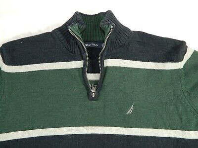 Nautica Mens Large Blue Green Striped 1/4 Zip Mock Neck Pullover Knit Sweater L