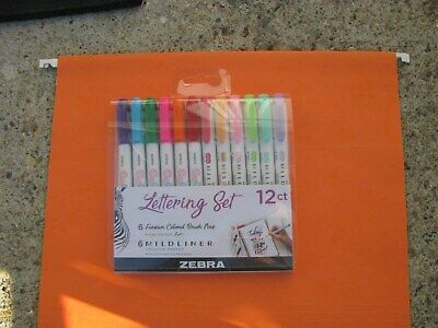 Brand New - 12 Count Zebra Pen Lettering Set Assorted Colors