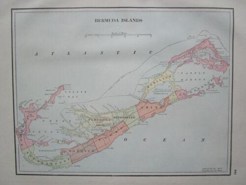 Antique 1895 BERMUDA Map. 19th Century. 1800s Blue, Yellow. Caribbean Islands.