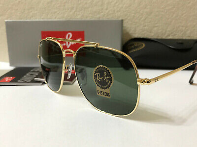 RAY-BAN General Square SUNGLASSES Gold Frame/Green Classic Lenses size (Gold Framed Sunglasses)