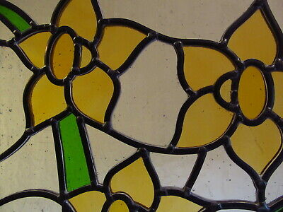 Newly crafted TRADITIONAL Stained Glass Window Panel DAFFODILS 266mm x 292mm