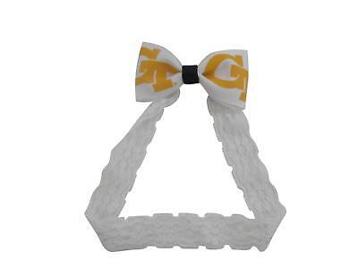 Georgia Headband - Georgia Tech University Yellow Jackets NCAA Baby Bow Lace Headband Band