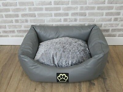Small Washable Grey Faux Leather Dog Bed With Crushed Velvet Inner Cushion