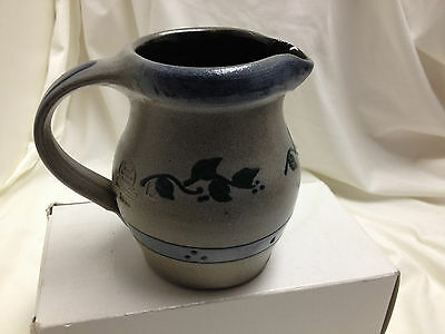 Rowe Pottery Works Cambridge, Wis 1996 4.5 inch high Pitcher Berry and Leaf NE