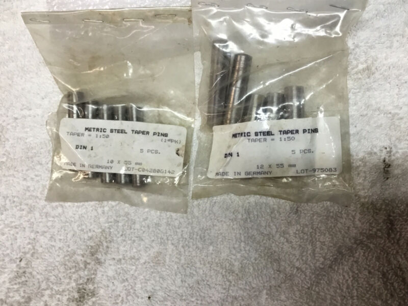 Metric Steel Taper Pins 10 X 55 MM And 12 X 55 MM. Made in Germany