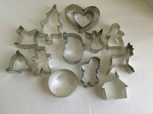 Vintage Lot 13 Aluminum Cookie Cutters Some unusual and rare angel house B13
