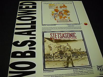 DIGITAL UNDERGROUND and STETSASONIC dual 1991 PROMO DISPLAY AD mint condition
