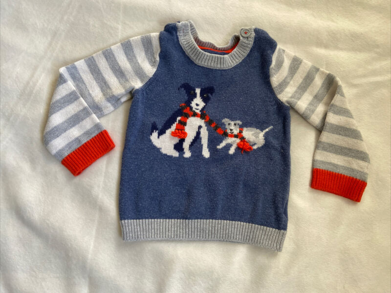 Baby Boden Boy Sweater 12-18 Months Blue Dogs With Scarves Striped Sleeves