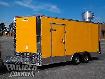 New 2021 8.5x16 8.5 X 16 V-nosed Enclosed Concession Food Vending Bbq Trailer