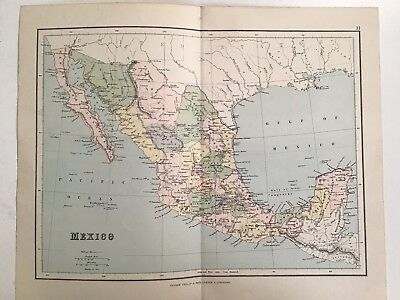 Mexico, 1881 Antique Map, Philips, Atlas, Original, Railways