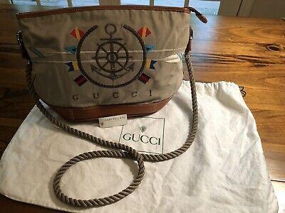 VINTAGE GUCCI NWOT Khaki Canvas Nautical Shoulder Bag, 1980's, Boating, Sailing