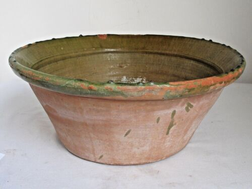 "Antique Large French Handmade Pottery Bowl Green Interior Glaze 18"" diameter"