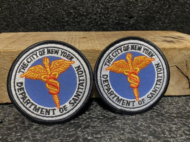 """DEPARTMENT OF SANITATION THE CITY OF NEW YORK PATCH 3"""" Lot Of 2 Iron/sew On"""