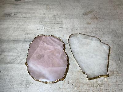 Anna New York by RabLabs Kivita Coasters Rose Quartz and Gold Set of 2