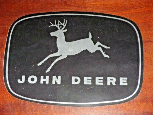 "Vintage John Deere Black & Silver Vinyl Decal Sticker 4-Leg Deer Logo 12"" by 9"""