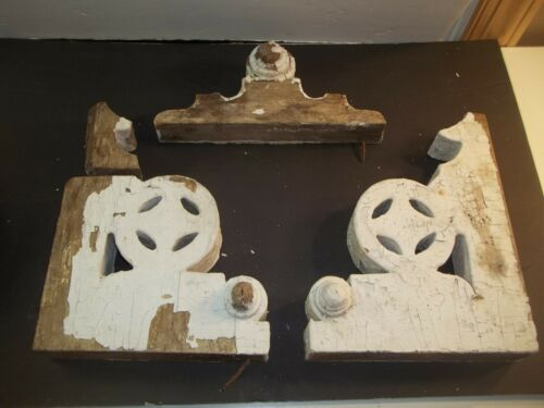 Pair Antique Victorian Wood Corbels House Brackets Nice Design Old White Paint