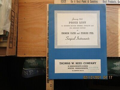 thomas w reed co surgical lnstruments price list 1942